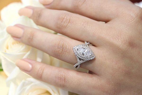 Saffron 14k White Gold Marquise  Double Halo Engagement Ring