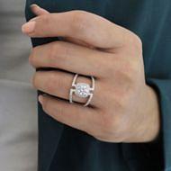 14k White Gold Round Halo Engagement Ring angle