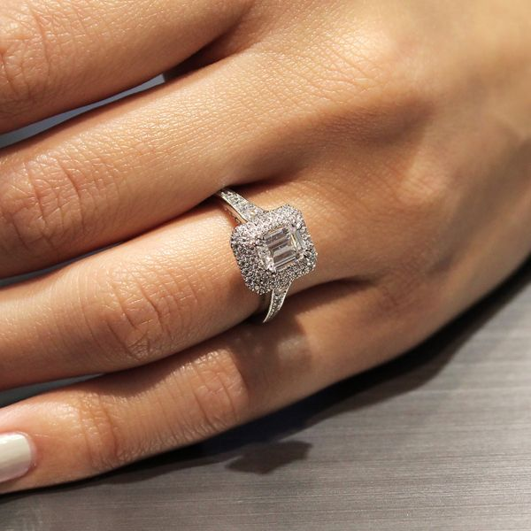 Jasmine 14k White Gold Emerald Cut Double Halo Engagement Ring angle