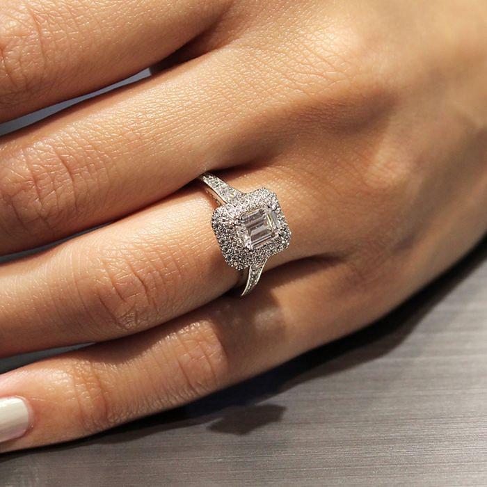 14K White Gold Double Halo Emerald Cut Diamond Engagement Ring angle