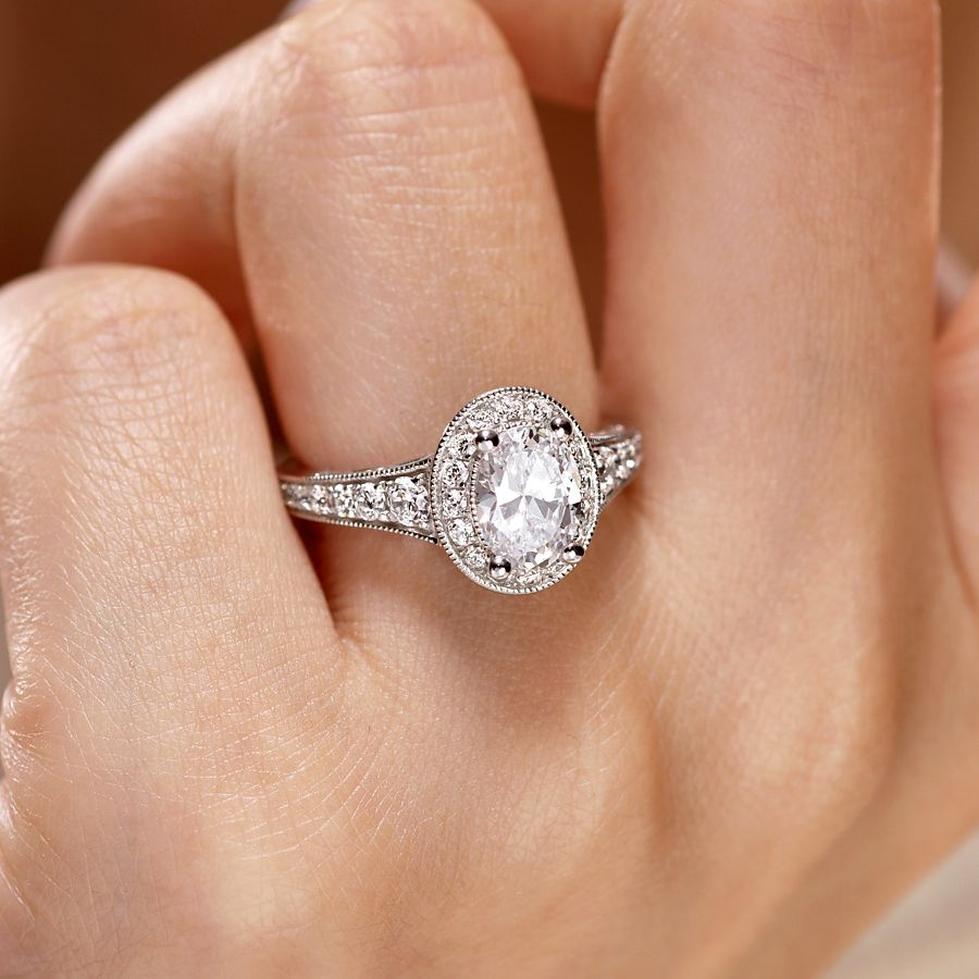 Vintage Inspired 14K White Gold Oval Halo Diamond Engagement Ring angle