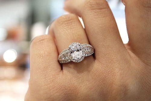 14K White Gold Oval Halo Diamond Engagement Ring angle