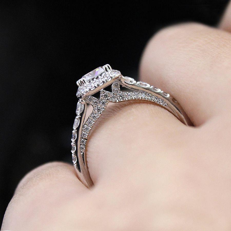 14K White Gold Cushion Halo Diamond Engagement Ring angle