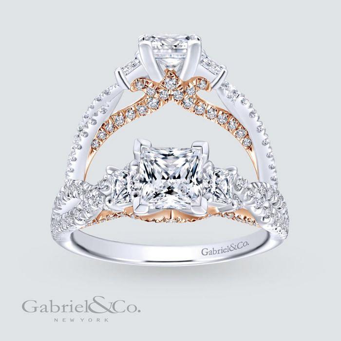 14K White-Rose Gold Princess Cut Diamond Engagement Ring angle