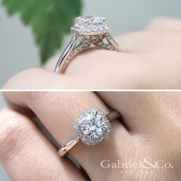 Cypress 14k White Gold Round Halo Engagement Ring angle