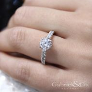 Matilda 14k White Gold Round Straight Engagement Ring angle