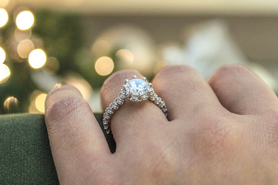 14K White Gold Hidden Halo Round Diamond Engagement Ring angle