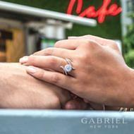 14K White-Rose Gold   Engagement Ring angle