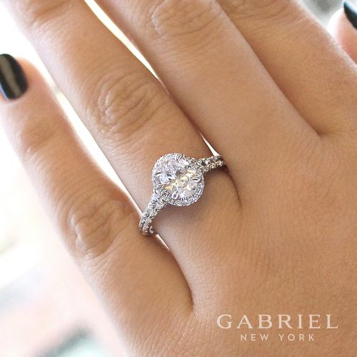 14K White Gold Oval Halo Diamond Engagement Ring angle