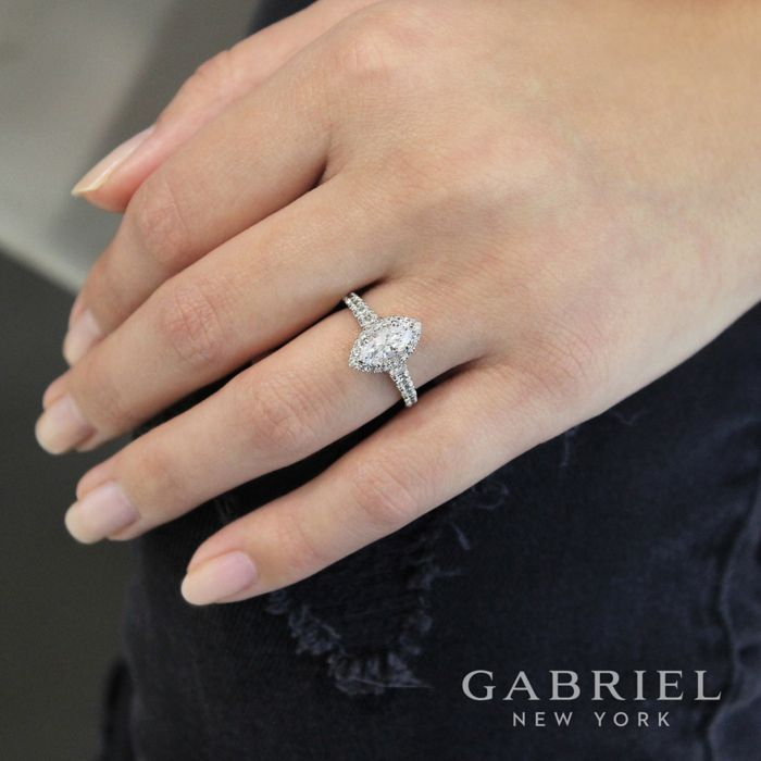 14K White Gold Marquise Halo Diamond Engagement Ring angle