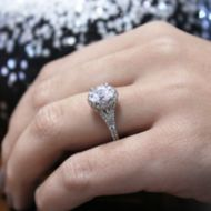 Verbena 14k White Gold Oval Halo Engagement Ring angle