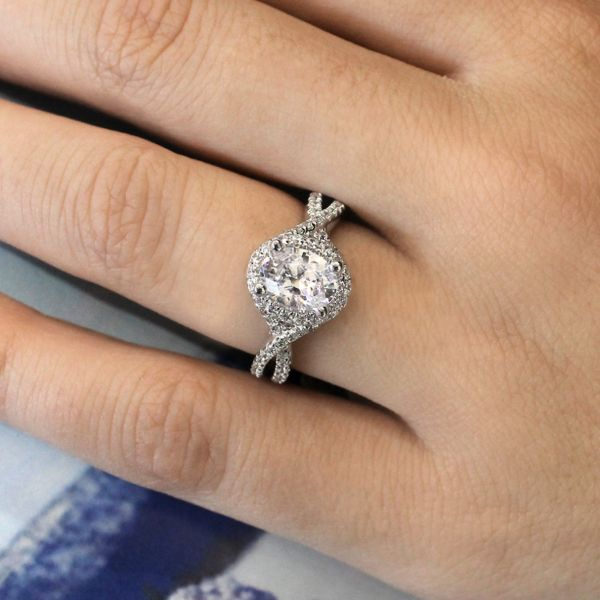 Freesia 14k White Gold Oval Halo Engagement Ring