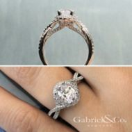 Freesia 14k White Gold Oval Halo Engagement Ring angle