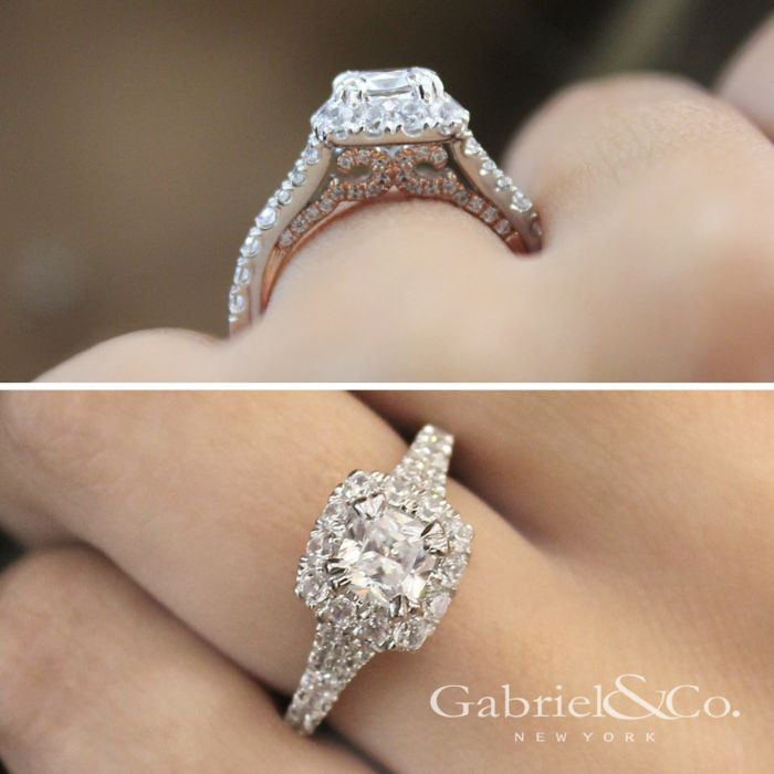 14K White-Rose Gold Cushion Halo Diamond Engagement Ring angle