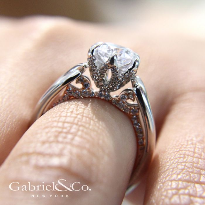 18K White-Rose Gold Round Diamond Twisted Engagement Ring angle