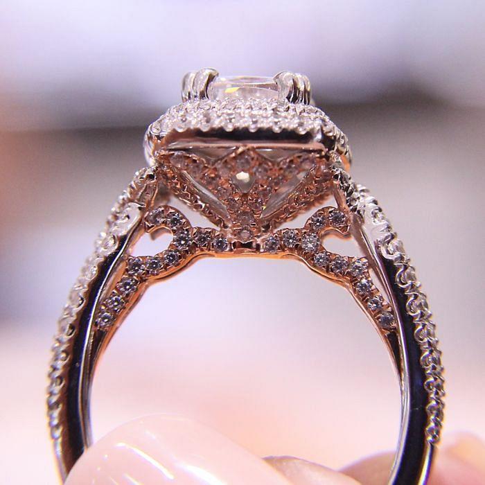 18K White-Rose Gold Cushion Double Halo Diamond Engagement Ring angle