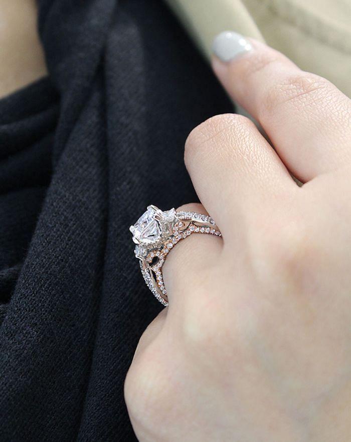 18K White-Rose Gold Princess Cut Three Stone Diamond Engagement Ring angle