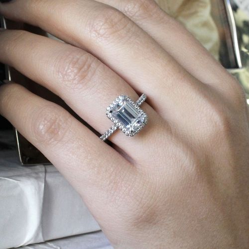 18K White Gold Emerald Cut Diamond Engagement Ring angle