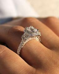 18k White Gold Emerald Cut 3 Stones Halo Engagement Ring angle