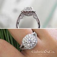 18k White Gold Round Double Halo Engagement Ring angle