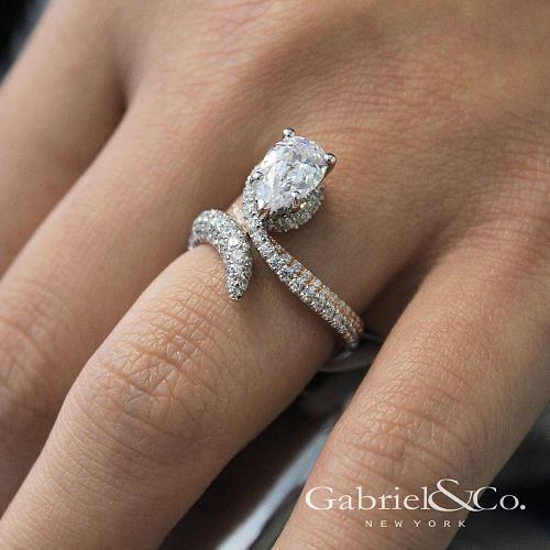 18K White-Rose Gold Pear Shape Halo Diamond Engagement Ring angle