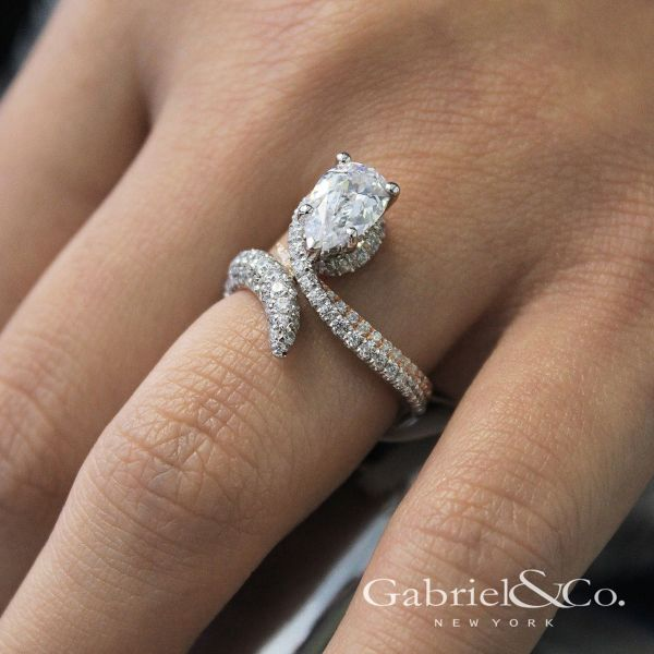 Belinda 18k White And Rose Gold Pear Shape Halo Engagement Ring angle