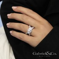 18k White Gold Marquise  Halo Engagement Ring angle