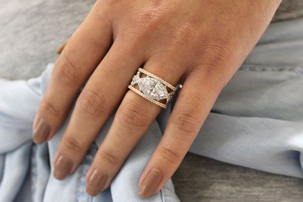 Elliot 18k White And Rose Gold Marquise  Halo Engagement Ring angle