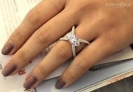 Cara 18k White Gold Round 3 Stones Engagement Ring angle
