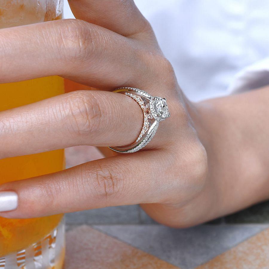 14K White-Rose Gold Round Diamond Engagement Ring angle