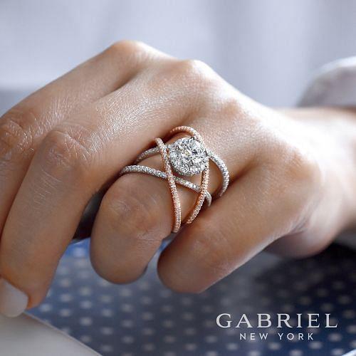 14K White-Rose Gold Round Halo Diamond Engagement Ring angle