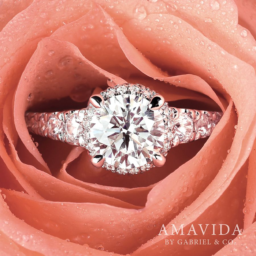 18K White-Rose Gold Round Double Halo Diamond Engagement Ring angle