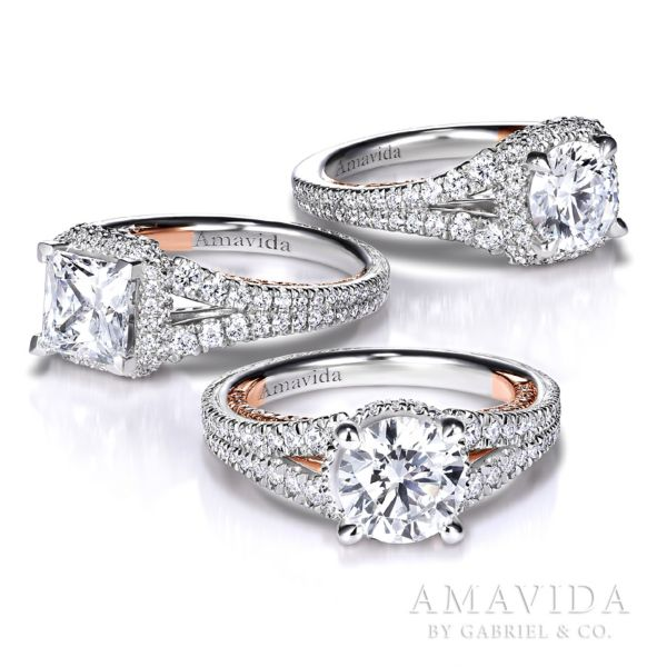 18K White-Rose Gold Halo Engagement Ring