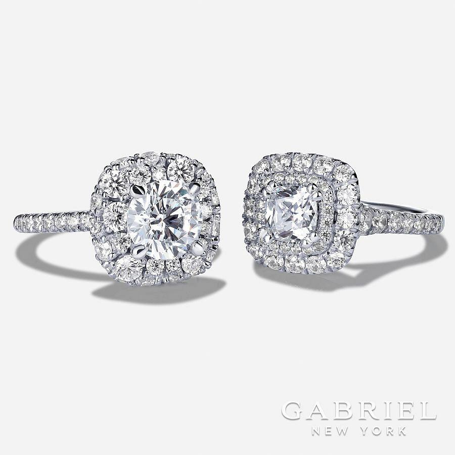 14K White Gold Cushion Cut Diamond Engagement Ring angle