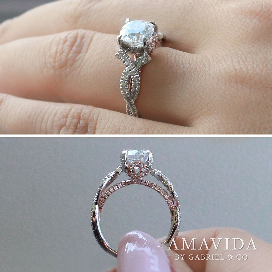 18K White-Rose Gold Twisted Round Diamond Engagement Ring angle