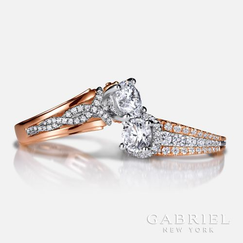 14K White-Rose Gold Round Twisted Diamond Engagement Ring angle