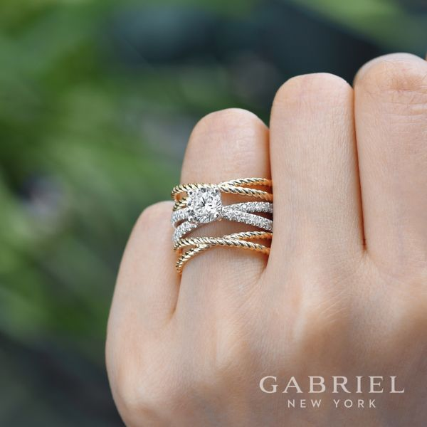 14K White-Yellow Gold Round Twisted Diamond Engagement Ring