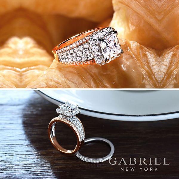 Feline 18k White And Rose Gold Princess Cut Halo Engagement Ring angle