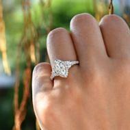 Martina 18k White Gold Marquise  3 Stones Engagement Ring angle