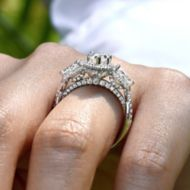 Bryson 18k White Gold Marquise  3 Stones Halo Engagement Ring angle