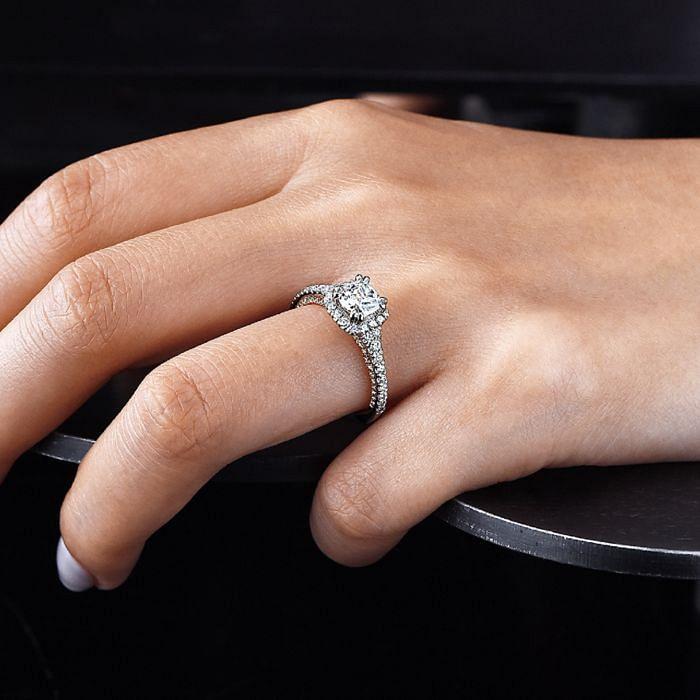 18K White-Rose Gold Cushion Halo Diamond Engagement Ring angle