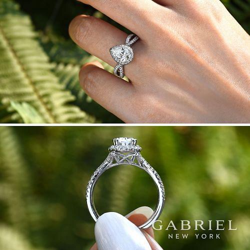 14K White Gold Pear Shape Halo Diamond Engagement Ring angle