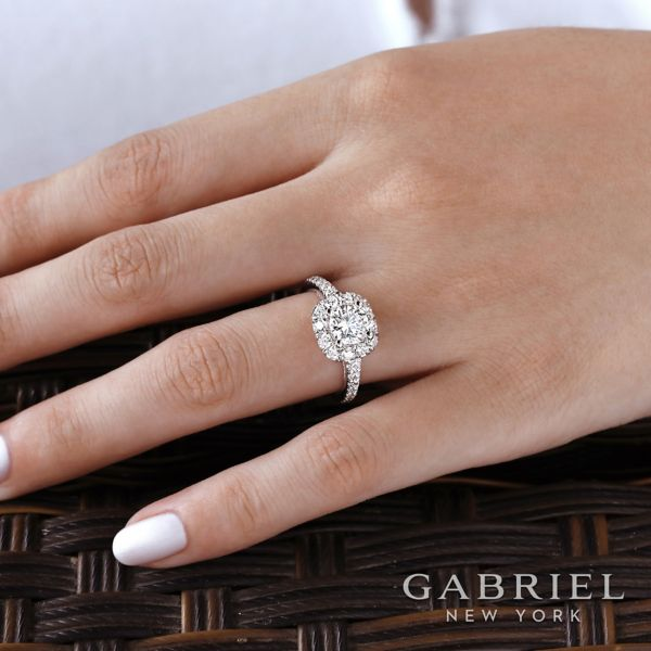 Wendell 14k White Gold Round Halo Engagement Ring angle