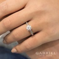 Sadie 14k White Gold Round Straight Engagement Ring angle