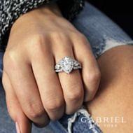 Ilona 14k White Gold Pear Shape 3 Stones Halo Engagement Ring angle