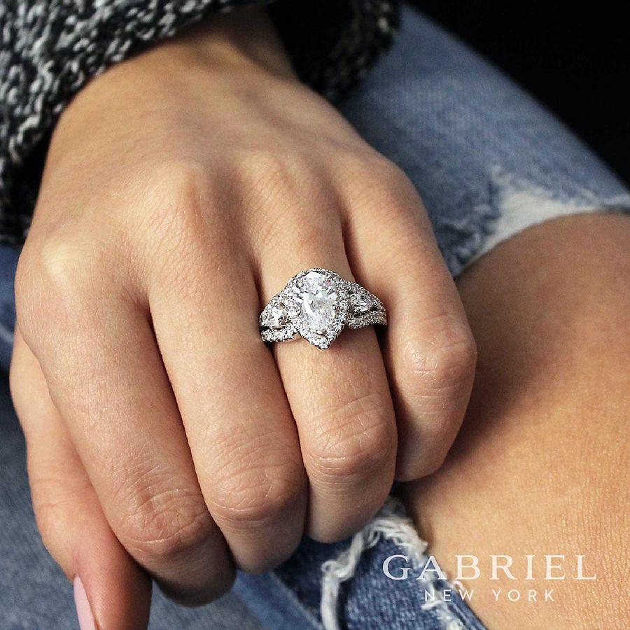 14K White Gold Pear Shape Three Stone Halo Diamond Engagement Ring angle