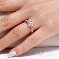 14K Rose Gold Diamond Engagement Ring angle