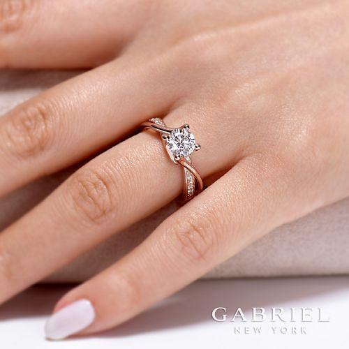 14K Rose Gold Twisted Round Diamond Engagement Ring angle