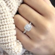 Lyla Platinum Round Halo Engagement Ring angle