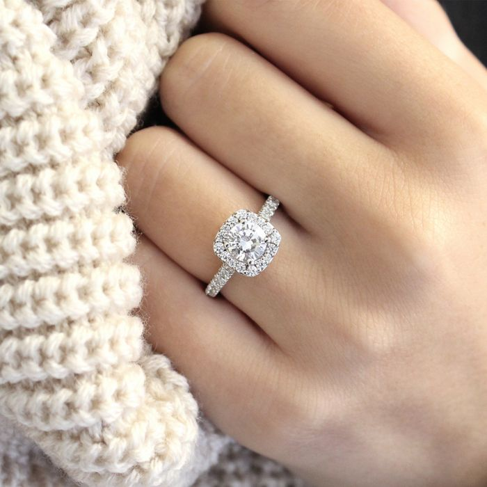 Platinum Cushion Halo Round Diamond Engagement Ring angle